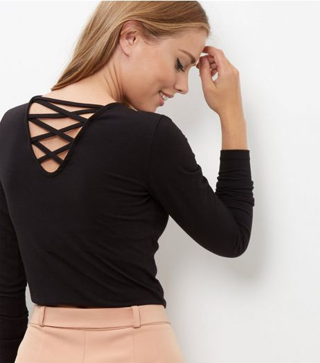 Black Lattice Back Long Sleeve Top  | New Look