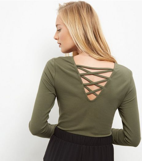 Olive Green Lattice Back Long Sleeve Top  | New Look
