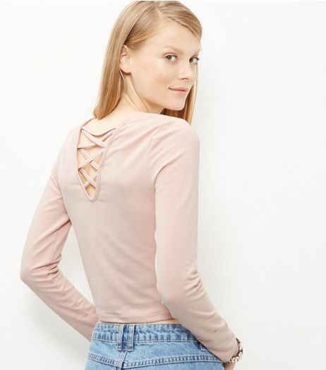 Mid Pink Lattice Back Long Sleeve Top  | New Look