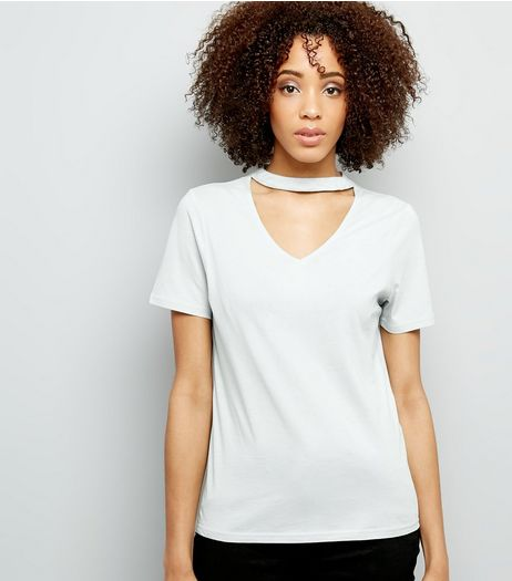 Mint Green Choker Oversized Neck T-Shirt | New Look