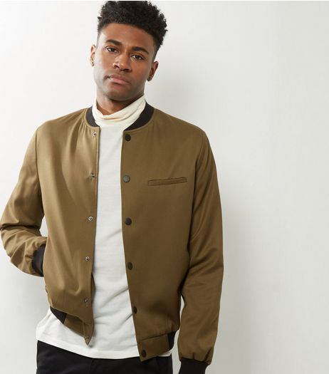 Camel Button Front Bomber Jacket  | New Look