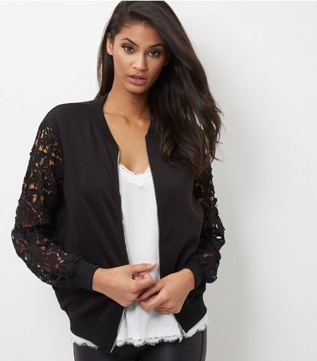 Cameo Rose Crochet Sleeve Bomber Jacket | New Look