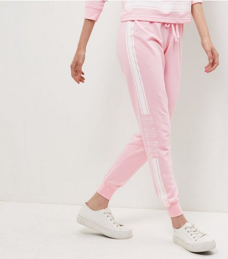 Pink Contrast Chic Side Panel Joggers | New Look