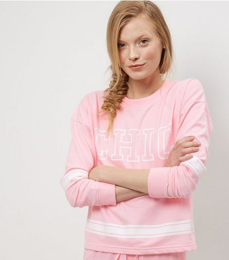 Pink Chic Stripe Trim Sweater | New Look