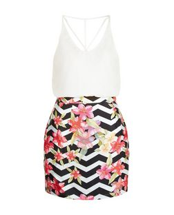 AX Paris Black Floral Zig Zag Print 2 in 1 Dress | New Look