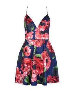 AX Paris Navy Floral Print Plunge Skater Dress | New Look