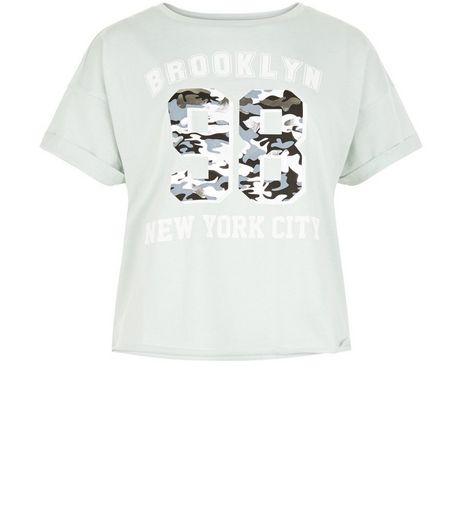 Teens Mint Green Brooklyn 98 Camo Print T-Shirt | New Look