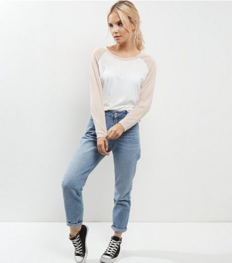 Petite Shell Pink Washed Raglan Sleeve Top | New Look