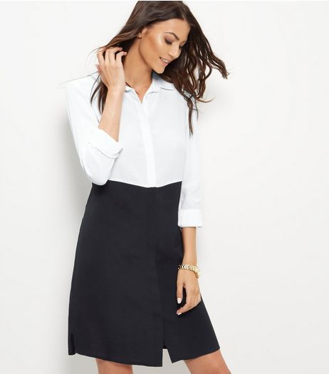 Black Colour Block Shirt Dress | New Look