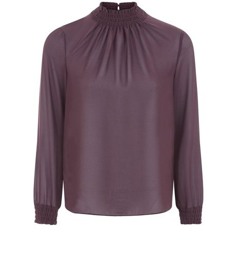 Petite Purple Funnel Neck Shirred Chiffon Top | New Look