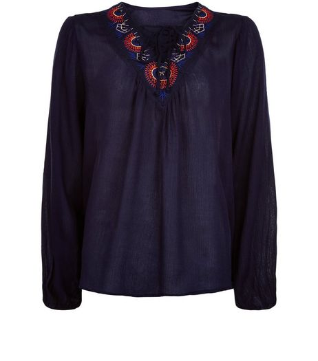 Apricot Navy Embroidered Lace Up Top | New Look
