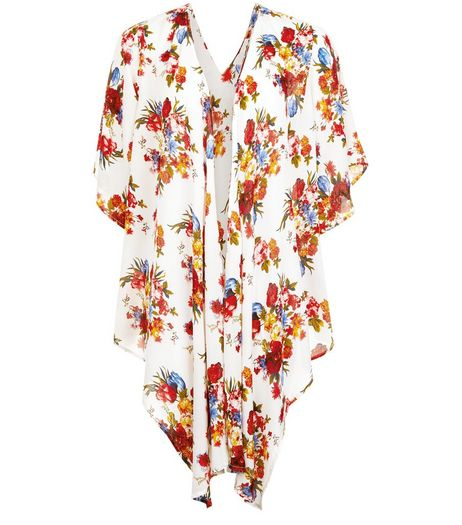Apricot Cream Floral Print Waterfall Kimono  | New Look