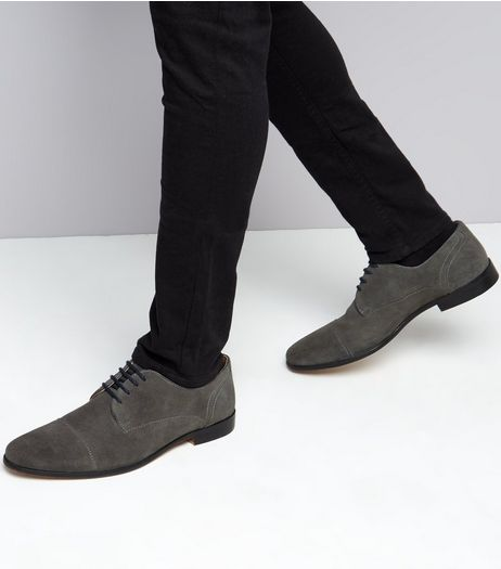 Dark Grey Suede Oxfords | New Look