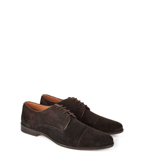 Dark Brown Suede Lace Up Brogues | New Look