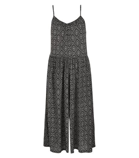 Apricot Black Tile Print Culotte Jumpsuit | New Look