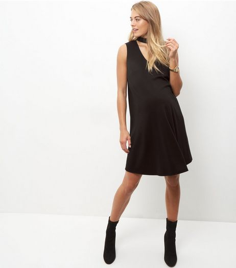 Maternity Black Sleeveless Choker Dress | New Look