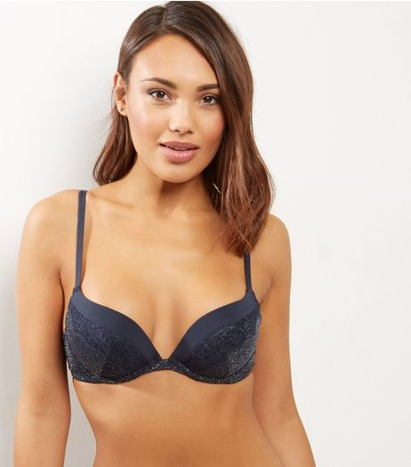 Navy Metallic Lace Trim Push Up Bra | New Look