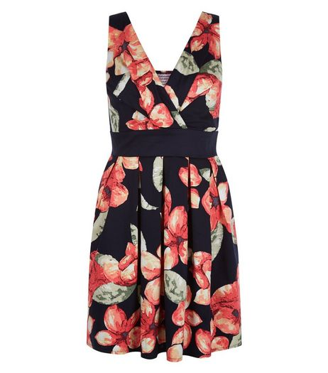 Apricot Navy Floral Wrap Skater Dress | New Look