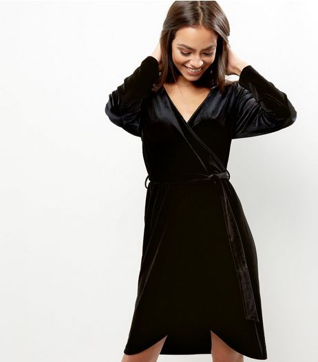 Black Velvet Wrap Front Dip Hem Midi Dress | New Look