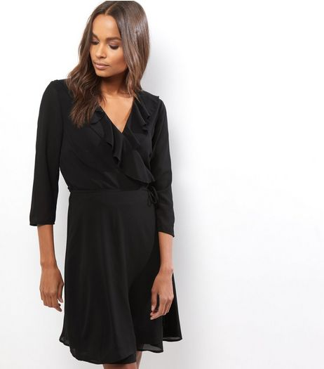 Black Frill Trim Wrap Front Long Sleeve Dress | New Look
