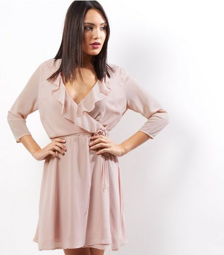 Mid Pink Frill Trim Wrap Front Long Sleeve Dress | New Look