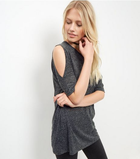 Dark Grey Cold Shoulder Tunic Top  | New Look