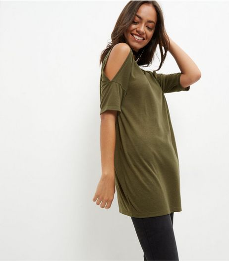 Olive Green Cold Shoulder Tunic Top | New Look