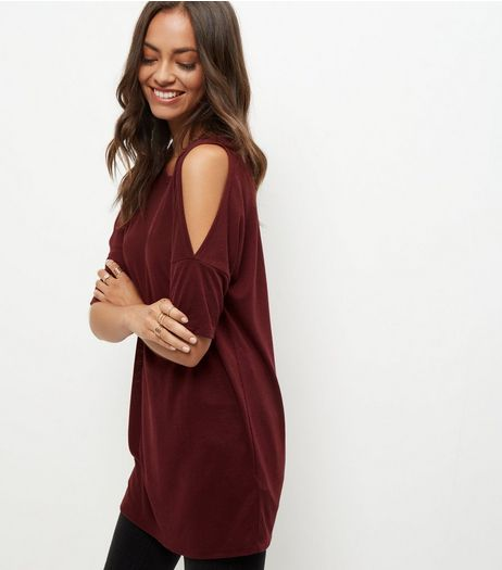 Burgundy Cold Shoulder Tunic Top  | New Look