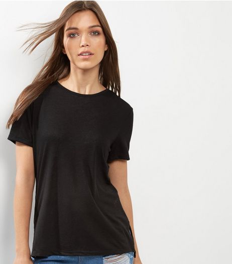 Black Short Sleeve Cross Strap Back T-Shirt  | New Look