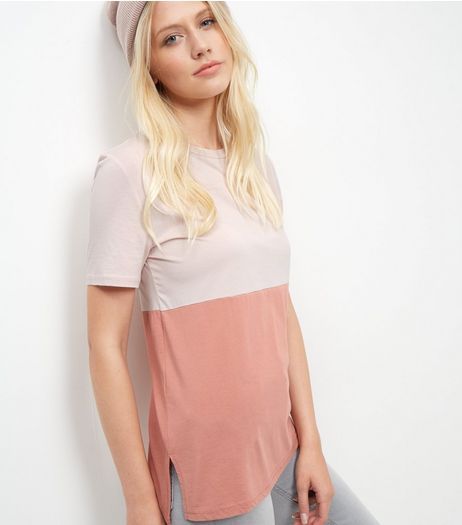 Pink Colour Block Boyfriend T-Shirt  | New Look