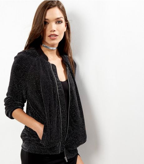 Black Glitter Bomber Jacket  | New Look
