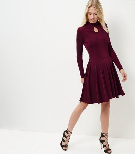 Burgundy Keyhole Funnel Neck Long Sleeve Swing Dress  | New Look