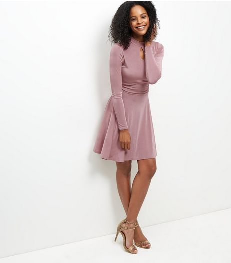 Mid Pink Keyhole Funnel Neck Long Sleeve Swing Dress  | New Look