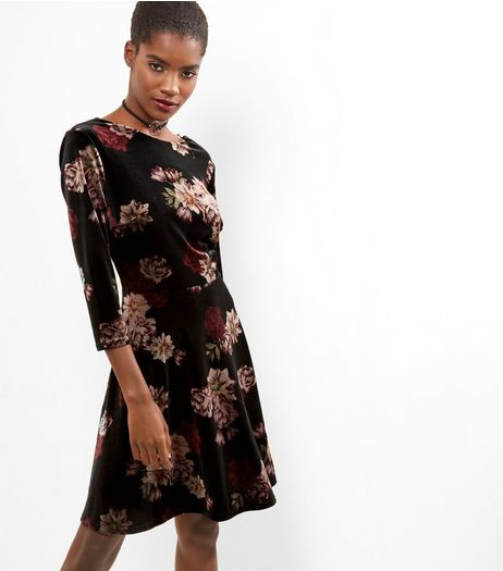 Black Velvet Floral Print Skater Dress | New Look