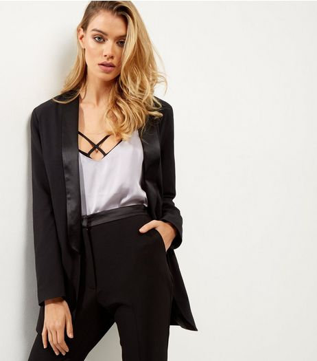 Black Satin Trim Blazer  | New Look