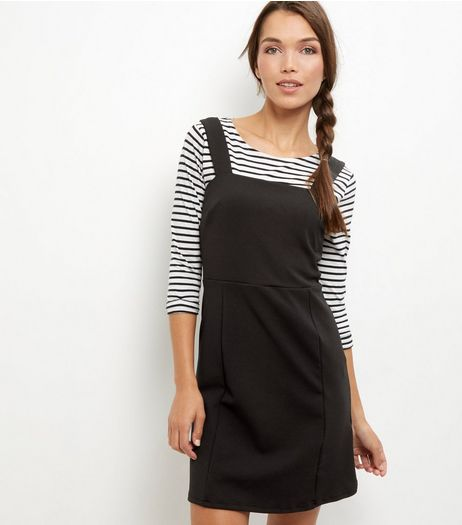 Black Scuba Pinafore Dress | New Look