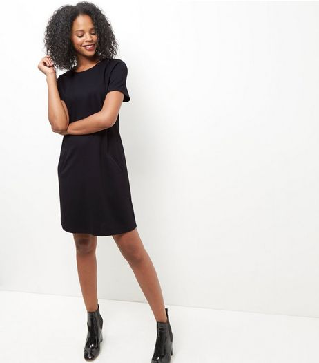 Black Double Pocket Tunic Dress  | New Look