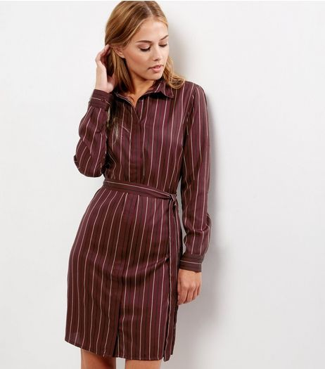 Red Stripe Belted Shirt Dress | New Look