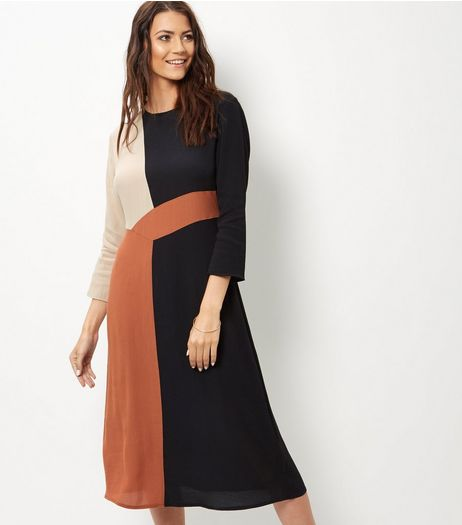 Black Colour Block Midi Dress | New Look