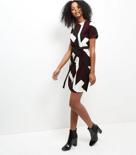 Burgundy Geo Print Belted Tunic Dress  | New Look