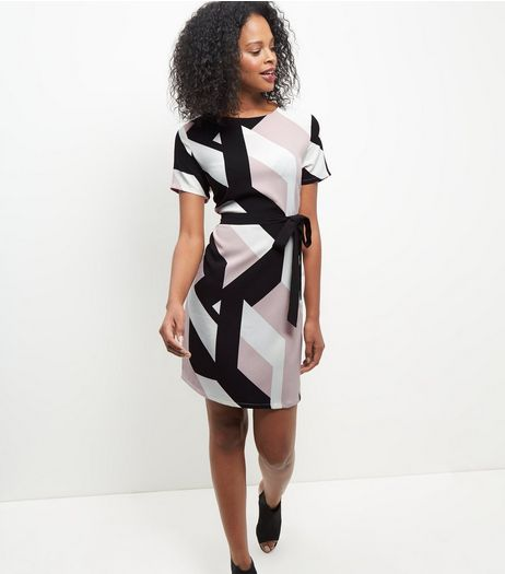 Pink Geo Print Belted Tunic Dress  | New Look