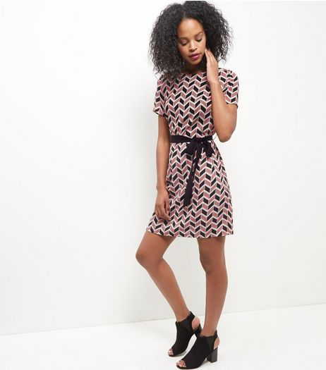 Red Geo Print Belted Tunic Dress  | New Look