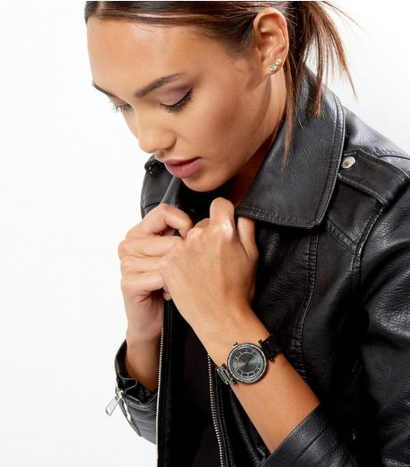 Black Diamante Dial Sports Watch | New Look