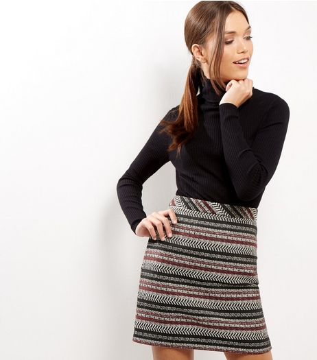 Red Contrast Stripe Jacquard A-Line Skirt  | New Look