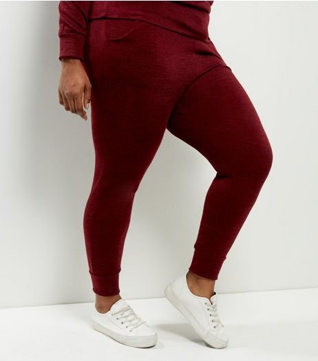 Curves Burgundy Fine Knit Joggers | New Look