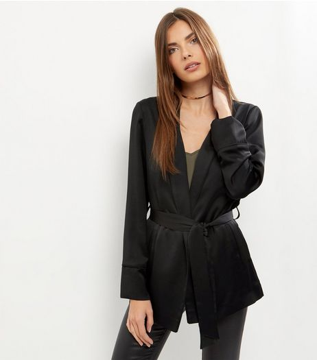 Black Tie Waist Blazer | New Look