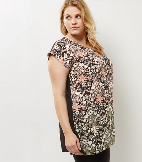 Curves Black Floral Woven Front T-shirt | New Look