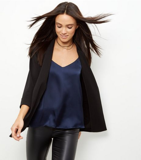 Black Scuba Crepe Blazer  | New Look