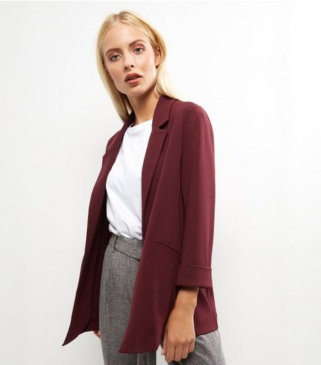 Burgundy Scuba Crepe Blazer  | New Look
