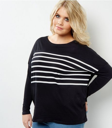Curves Black Stripe Front Long Sleeve Top | New Look